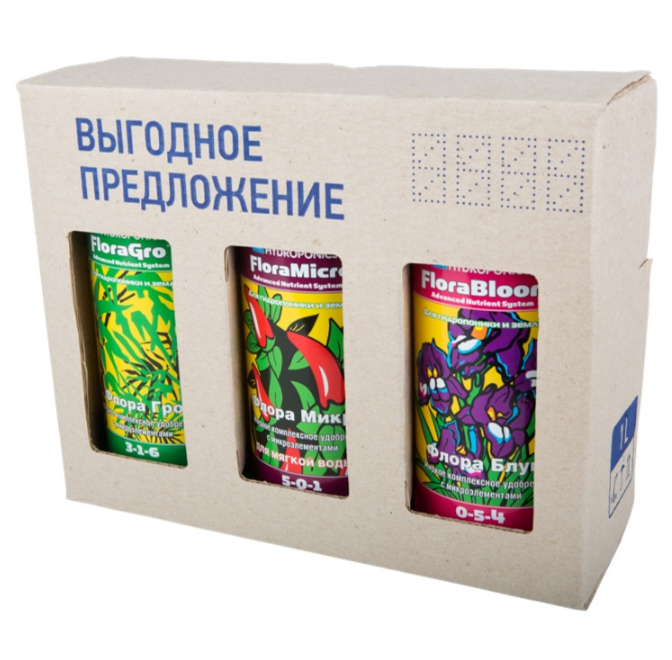 Комплект удобрений GHE Flora Series SW (для мягкой воды) 1